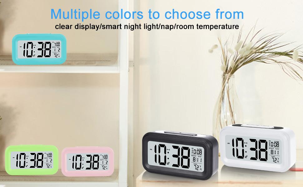 Battery Digital Alarm Clock White for Bedroom Home Office Battery Digital Alarm Clock LCD