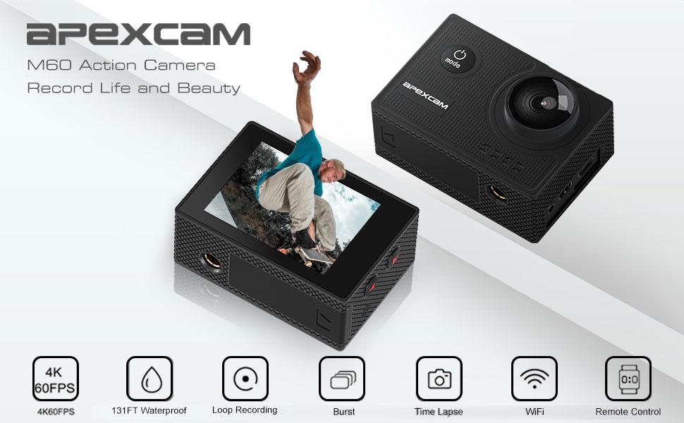 Apexcam camera sport 4k 60fps