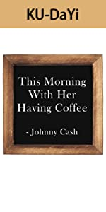 This Morning with Her Having Coffee Framed Block Sign 7 x 7 inches Rustic