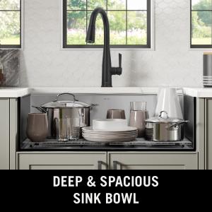 Workstation sink, deep bowl