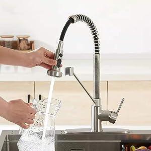 Pull Down Sink Faucet Head Brushed Nickel