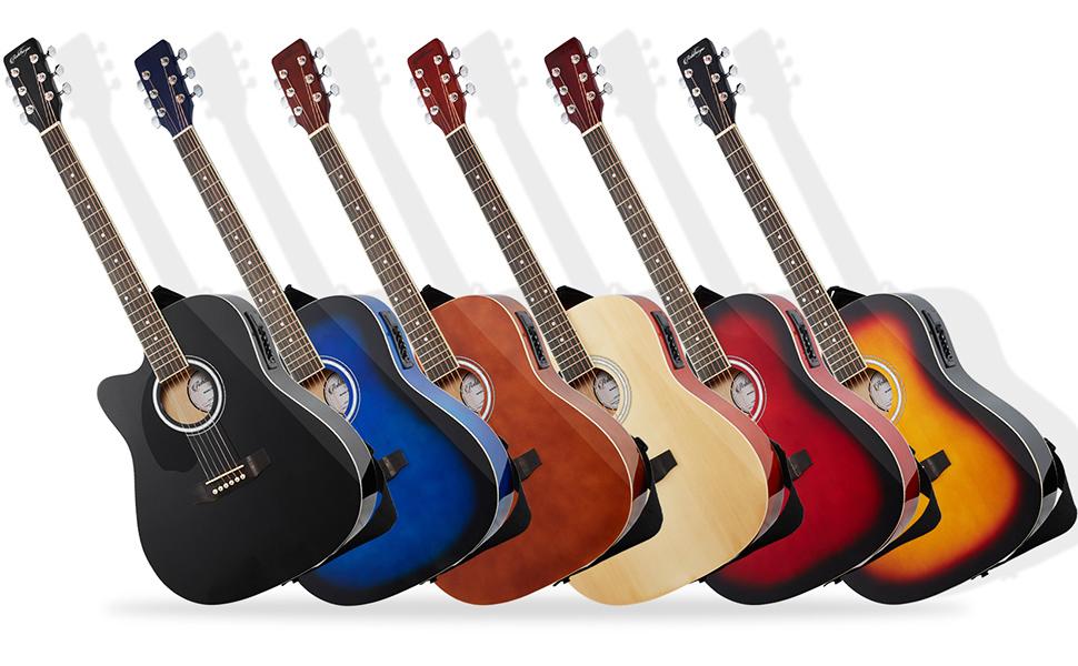 dreadnought cutaway acoustic-electric left-handed guitar, black, blue, brown, natural, red, sunburst