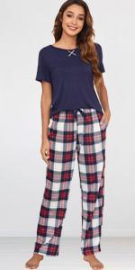 Ekouaer Short Sleeve Pajamas Sets Set with Plaid Pants