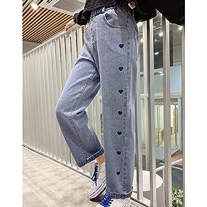 girls heart pattern wide leg straight jeans wash denim pants