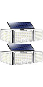 2 Pack Solar Outdoor Lights with 3 Adjustable Heads