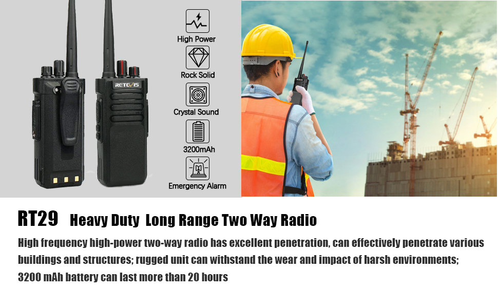 heavy duty long range walkie talkies