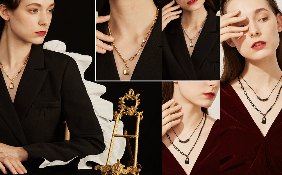 lock pendant necklace for men women coulpe chain
