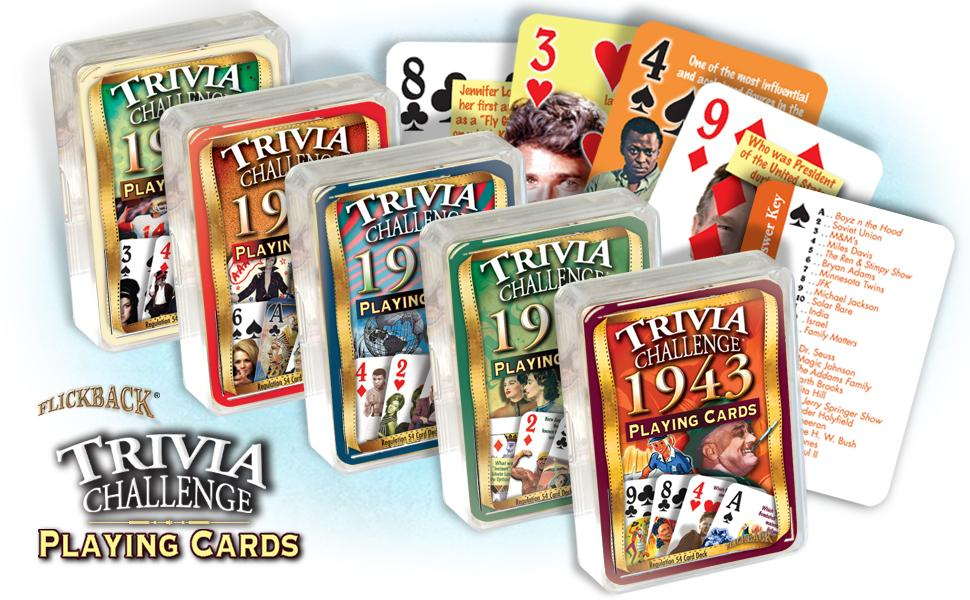 Flickback Trivia Challenge Playing Cards feature questions on each card plus answer key.