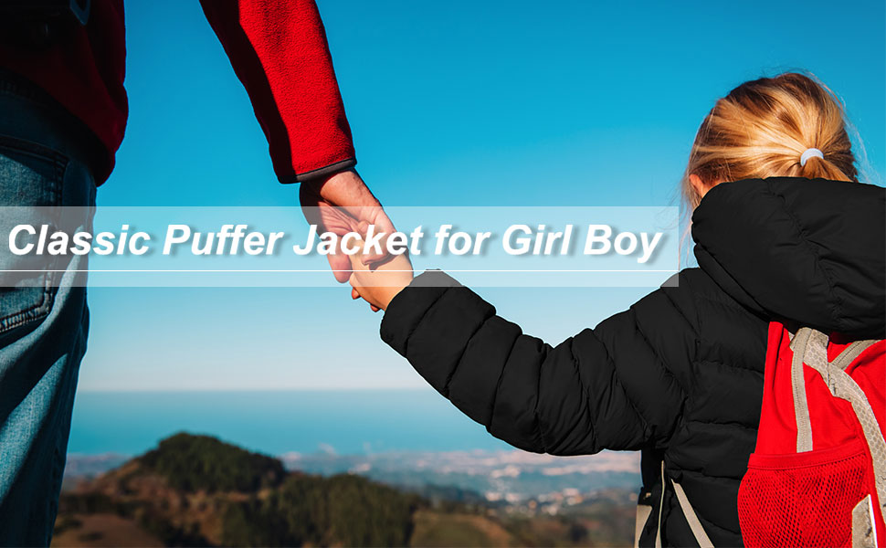 Kids down puffer winter warm jacket for girls boy