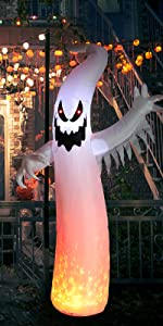 8 FT Halloween Inflatable Hunting Ghost Outdoor Built-in Red LED Light Blow Up Halloween