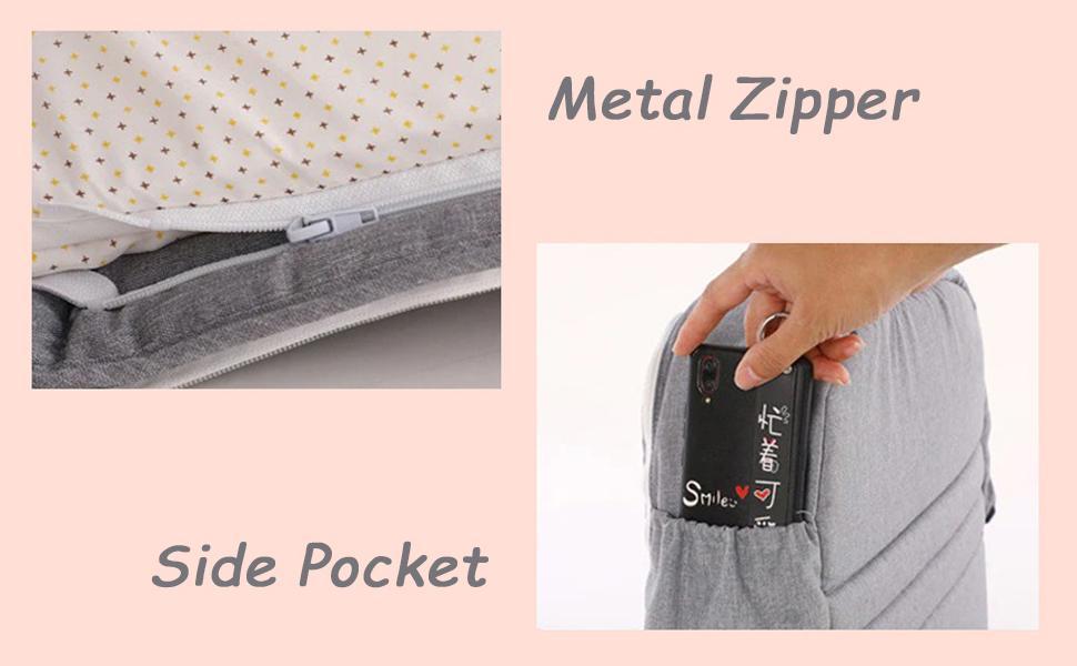 metal zipper and side pocket design