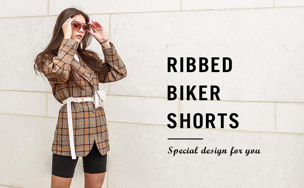 womens ribbed biker shorts