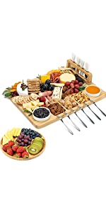 Cheese Board and Knife Set - 17 x 13 x 2 Inch