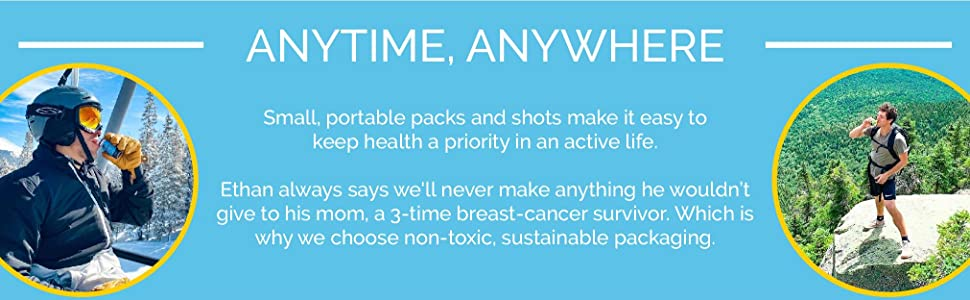 Small, travel friendly packs and shots easily work with an active lifestyle