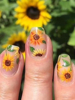 Daisy Nail Sticker for Design Decoration Sunflower Nail Art Decals Adhesive Himawari Sticker