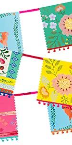 boho partyware decorations floral plates napkins festival party supplies bright hippy