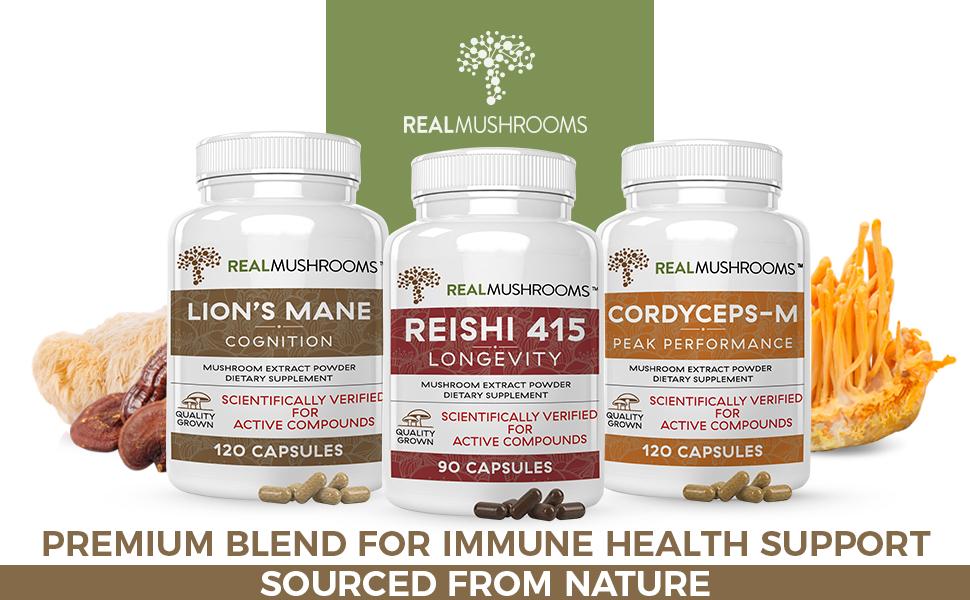 lions mane reishi and cordyceps m mushroom supplement capsules