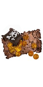 mapa de búsqueda del tesoro, bolsa de monedas y monedas de oro