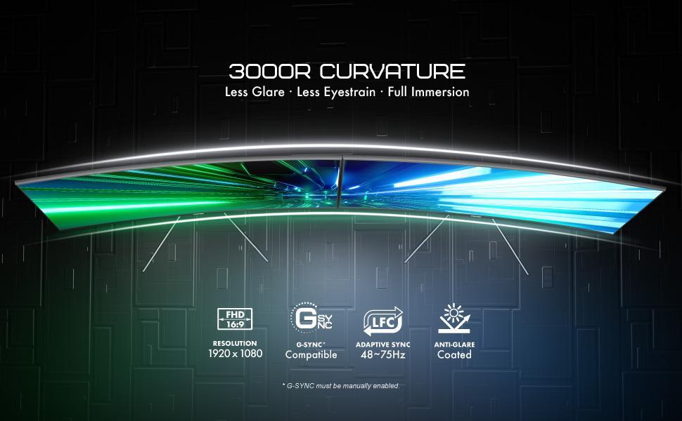 3000R curved monitor - 1920 x 1080 resolution - 48 - 75Hz adaptive sync