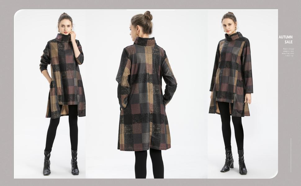 Warm winter long sleev shirt dress