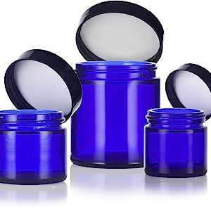 3 set cobalt glass jar