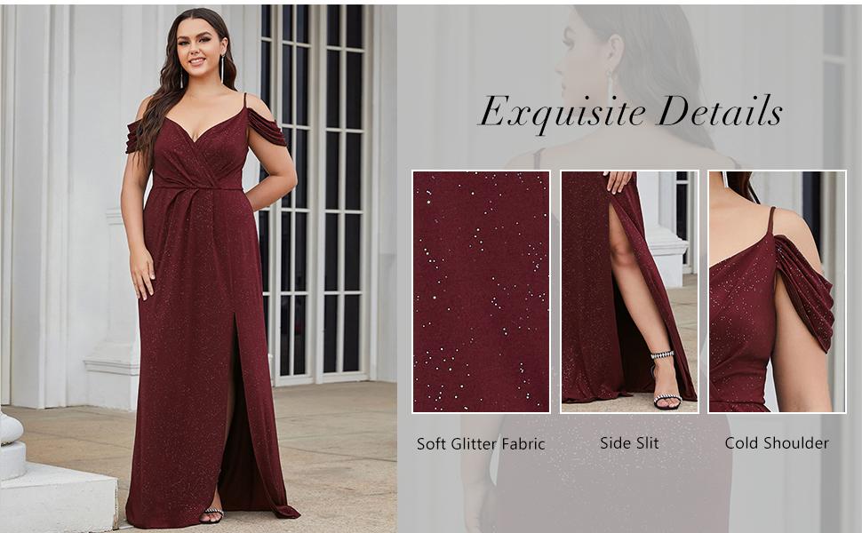 Ever-Pretty Women's Maxi Glitter Plus Size V-Neck Leg Slit Formal Party Dress