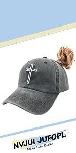Christian Jesus Cross Ponytail Baseball Cap