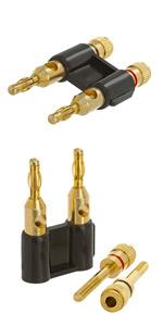 Dual Speaker Banana Plugs, 24K Gold Plated