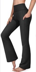 Damen Bootcut Yogahose Mit Taschen Flare Hose