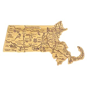 Destination Massachusetts State Shaped Serving and Cutting Board