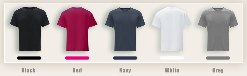 black t shirt red t shirt navy t shirt white t shirt grey t shirt