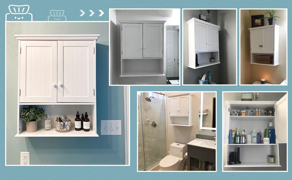 Tangkula Wall Mount Bathroom Cabinet