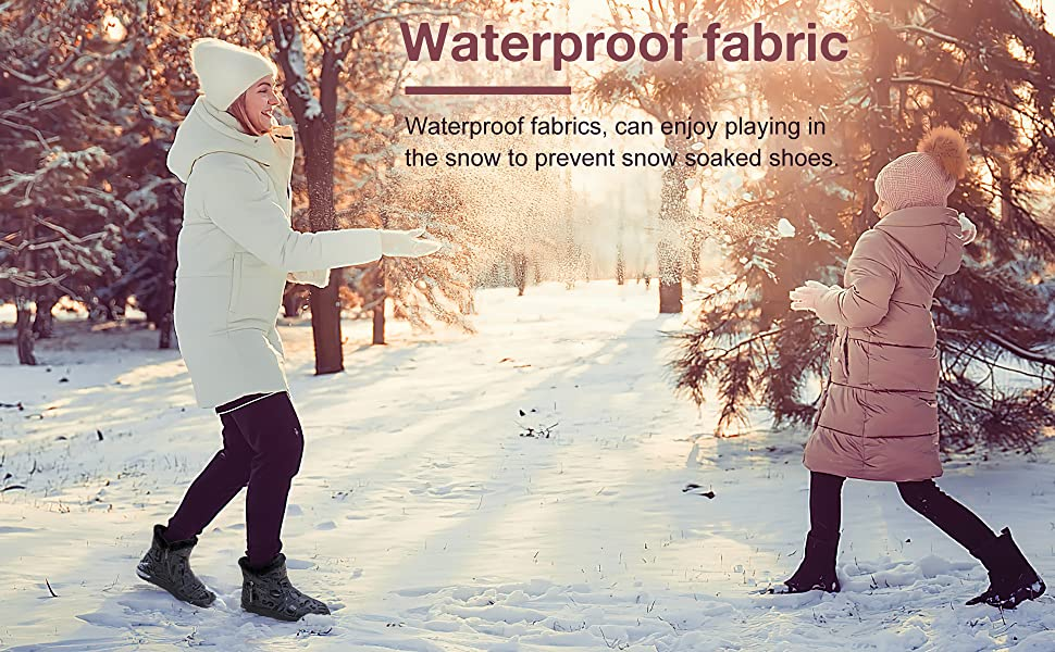 Women Snow Boots Winter Shoes with Warm Fur Lined Ankle Boot Non-slip Waterproof Side Zippers