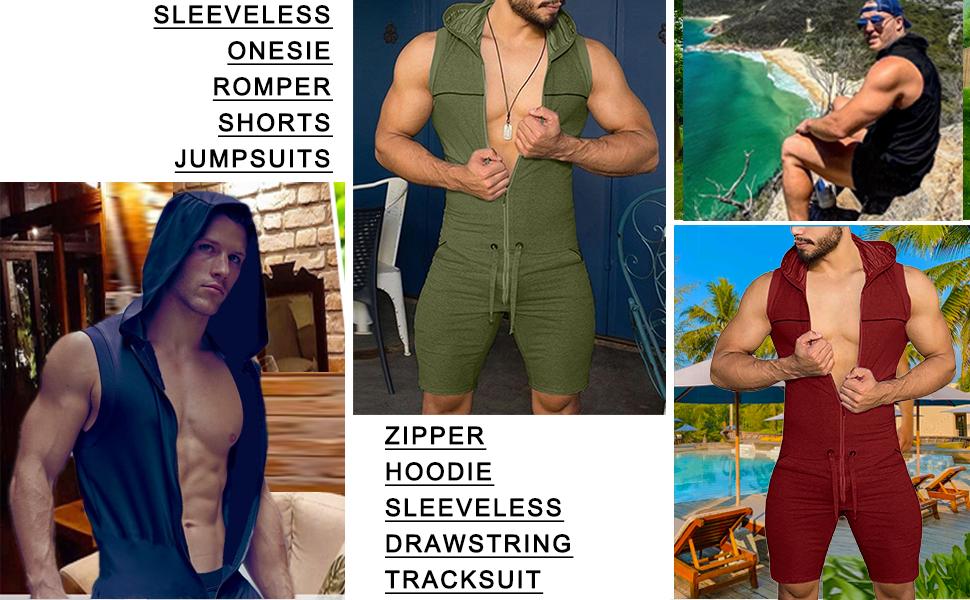 men sleeveless jumpsuit hoodie