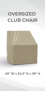 Formosa Covers Club Wide Outdoor Dining Chair Cover Protect Heavy Duty Against Rain Sun Damage