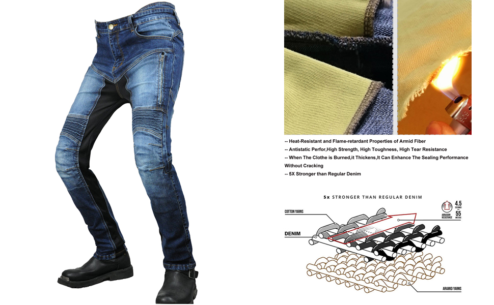 Motorcycle Riding Pants for Men Aramid Reinforce