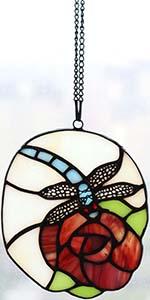 Bieye W10078 Dragonfly Flower Tiffany Stained Glass Suncatcher
