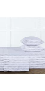 Blue Microfiber Lena Dot Stripe Printed  3-Piece Sheet Set