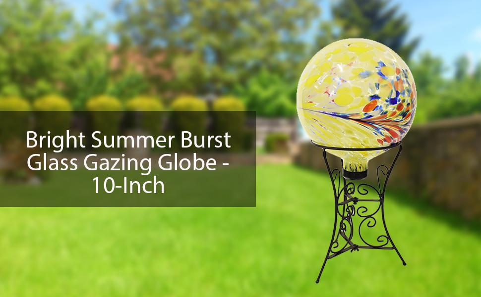 Sunnydaze Bright Summer Burst Glass Gazing Globe