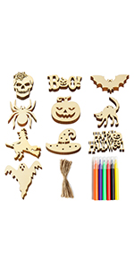 Halloween Wooden Unfinished Hanging Ornaments