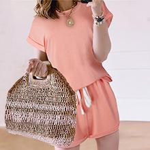 Pink Casual Shorts Set