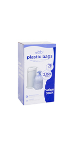 Packaging of the Ubbi plastic bags value pack on white