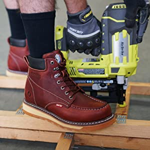 Cactus work boot with nail gun