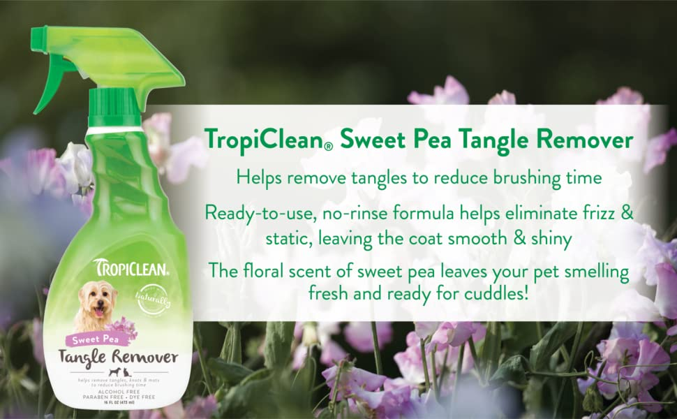 TropiClean Sweet Pea Tangle Remover Spray for Pets Bottle