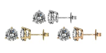 14K Gold Post amp; Sterling Silver-Zirconia 3 prong-Martini Style Stud Earrings 1.0ct to 4ct