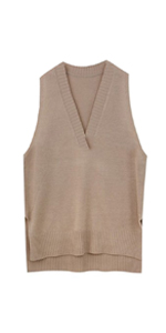 Women High Low V-Neck Knitted Sweater Vest