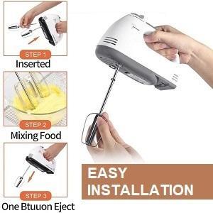 Handheld Electric Hand Mixer, 7-Speed Butter Egg Flour Cream Beater with Dough Hooks
