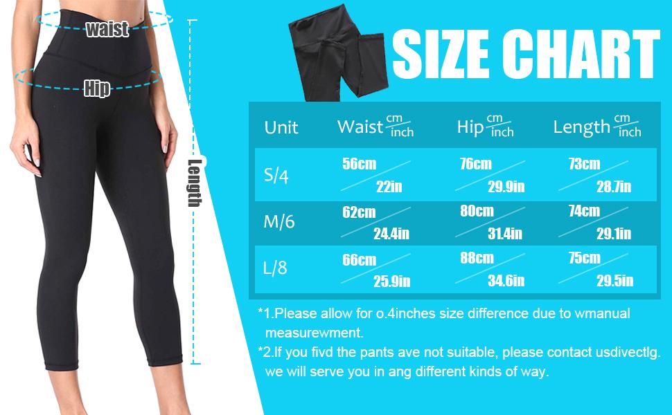Capri yoga pants size chart