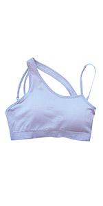 light blue asymmetrical sports bra padded for tennis