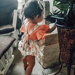 Cotton ribbed baby girl shorts set